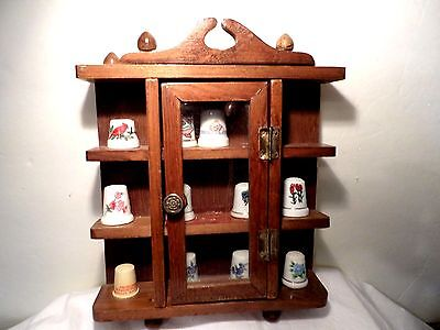 Vintage Wood Wall Hanging Thimble Display Holder With 11 Thimbles