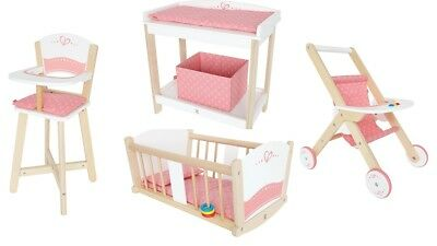 Hape Baby Doll Bundle - Pram, Cradle, High Chair and Change Table