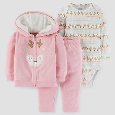 Baby Girls' 3pc Deer Hooded Fair Isle Set - Just One You™ Made by Carter...