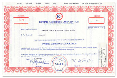 E'Prime Aerospace Corporation Stock Certificate (Peacekeeper Missile System)