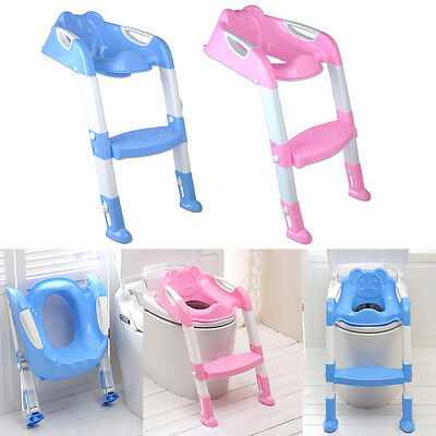 BABY TODDLER TRAINING TOILET SEAT SAFETY POTTY STEP LADDER TRAINER pink/blue US