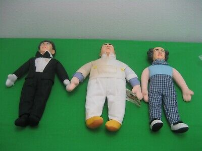 Vintage Three Stooges Dolls Complete Set of Moe Larry Curly Toys 1999