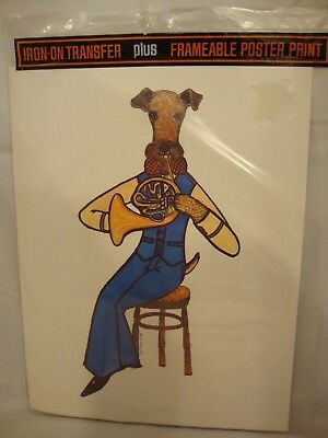 Vintage 70s Iron On T-Shirt Transfer SCHNAUZER PLAYING FRENCH HORN Sealed NOS