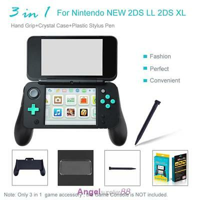 3 in 1 Hand Grip+Crystal Case+Plastic Stylus Pen for Nintendo NEW 2DS LL XL Set