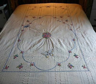 "Vintage Cotton Hand Embroidered Bedspread - 86"" X 74"""