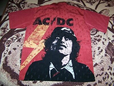 NEW Vintage AC/DC Rockware by Dragonfly Button Dress Bowling Shirt Red Sz M ACDC