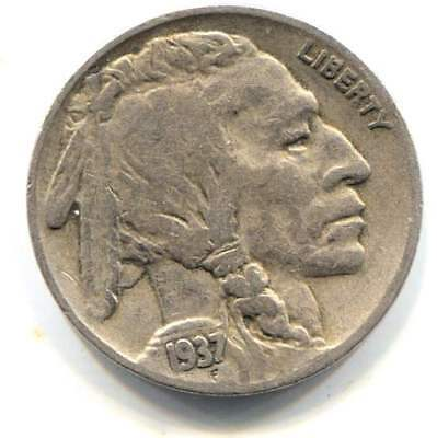 US 1937 S Indian Buffalo Nickel - American Five Cent Coin - San Francisco Mint