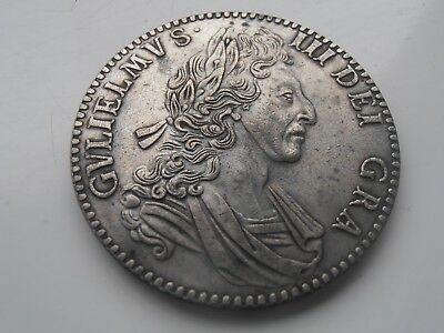 1700 King William 3rd Silver Plated Restrike Crown Coin Collectable