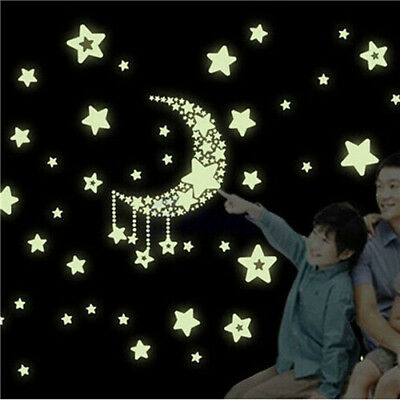 Moon and Stars Glow In The Dark Wall Sticker Baby Bedroom Home Decor Luminescent