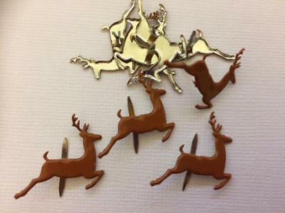 BRADS REINDEER PRANCING pk of 8 split pin craft christmas deer brown xmas