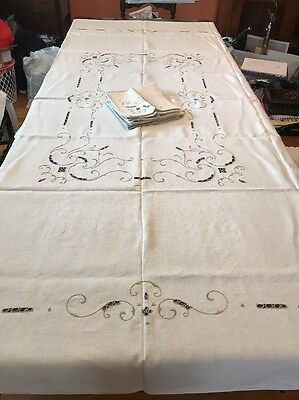 Estate Vintage Unused MADEIRA Linen Tablecloth Open Hand Embroidered Napkins
