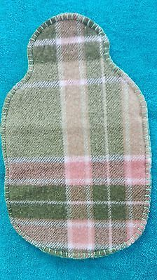 Hot water bottle cover hand made using vintage woollen blanket 100% wool greenbe