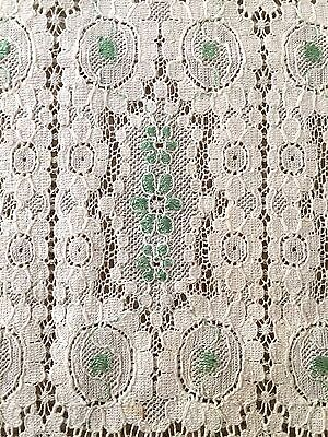 Vtg Victorian PETIT POINT STYLE EMBROIDERY ALENCON LACE Tablecloth RUNNER 10x40