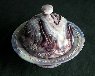 Northwood Purple Slag Scroll with Acanthus Covered Butter Dish Antique, Marble