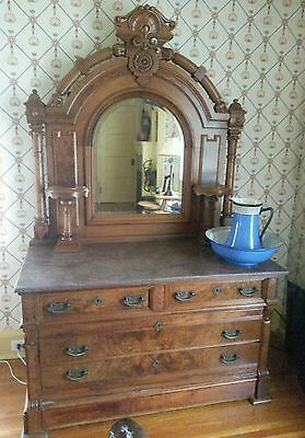 Antique Sideboard or Vanity. 1880!  Original marble top. Excellent condition.