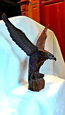 Antique Mahogany Wood Hand Carved Eagle Statue