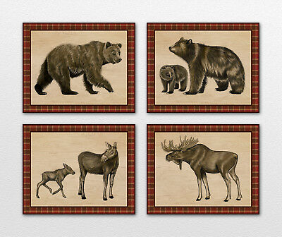 Rustic Bear/Moose Plaid Nursery Art Prints.Wall Decor. Woodland Forest animal