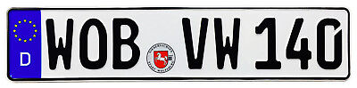 VW Wolfsburg Front German License Plate (WOB) by Z Plates with Unique Number NEW
