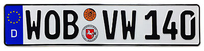 VW Wolfsburg Rear German License Plate (WOB) by Z Plates with Unique Number NEW
