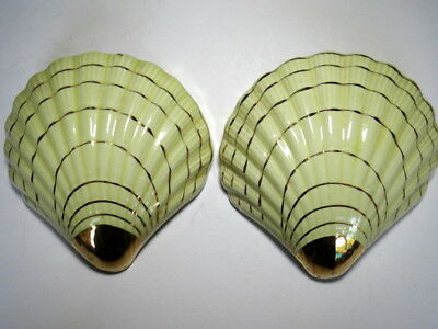 Vintage Pr Of Wall Vases, Yellow & 22 Kt. Gold Decoration.