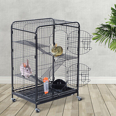 """PawHut Pet Cage 37"""" Cat Portable Kennel Steel Rabbits House For Animals Tray BK"""
