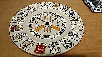 Middlesex County Cricket Champions 1980 Coalport Ltd Edition Plate.V G Condition