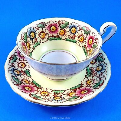 Lovely Yellow Border Marguerite Victoria Tea Cup and Saucer Set