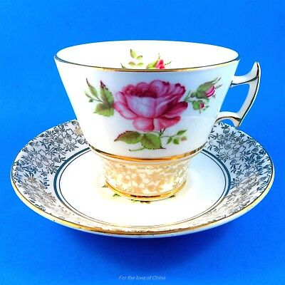 Pretty Pink Rose with Gold Chintz Border Phoenix Tea Cup and Saucer Set