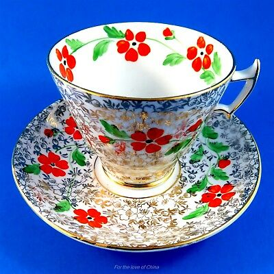 Pretty Hand Painted Red Floral on Gold Chintz Phoenix Tea Cup and Saucer Set