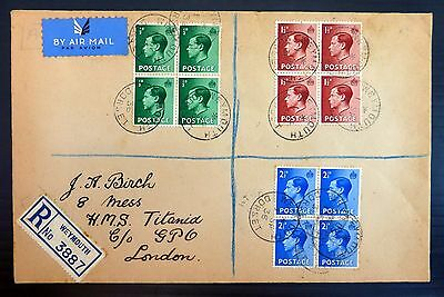 GB 1936 Ed.VIII (3) On Registered 1st Day Cover with Weymouth CDS AH35