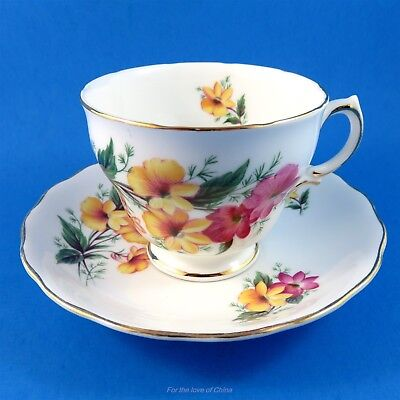 Pink and Yellow Flowers Colclough Tea Cup and Saucer Set