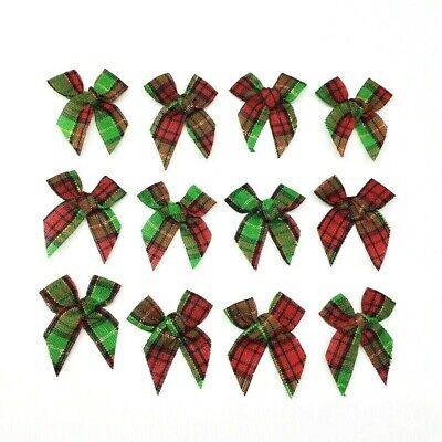 50 Red & Green Gingham Mini Bows Christmas Ornament Scrapbook Cards Crafts Decor