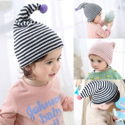 AU Toddler Kids Girl Boy Baby Infant Winter Crochet Knit Hat Pointed Cap Striped