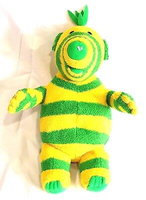 "Fisher Price Fimbles 15"" Standing Fimbo Soft Plush Toy Green Yellow Striped 2002"