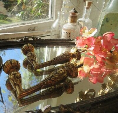 Fabulous Pair Of Cast Vintage French Brass Curtain Tie Back Hooks ~