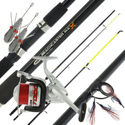 NGT Beachcaster MAX 12ft Sea Rod + MAR7000 1BB Sea Reel + 2x 4oz Leads & Feather