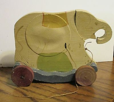 Louis Amberg wooden elephant pull toy ca. 1920 wheels squeaker RARE!