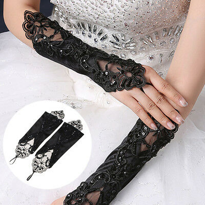 Black Long Lace Fingerless Gloves Burlesque Goth Fancy Evening Prom Wedding