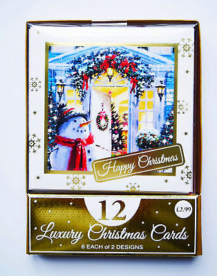 Christmas Cards Boxed Envelopes Xmas Bumper Box Pack of 12 Charity Assorted Snow