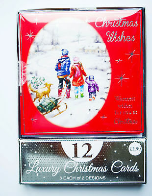 Christmas Cards Boxed Envelopes Xmas Bumper Box Pack of 12 Charity Assorted Tree