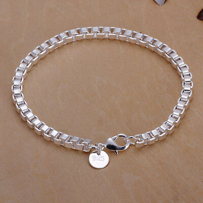 """New 925 Sterling Silver Ladies Bracelet Chain Link 4mm Gift 8"""" Inch Casual TJB13"""