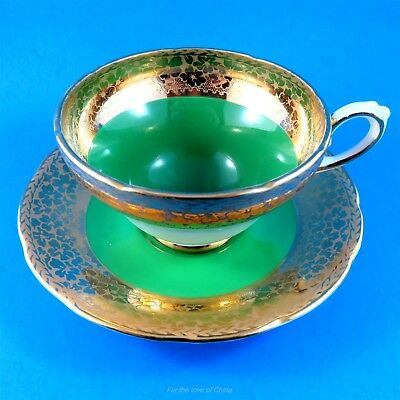 Striking Emerald Green and Gold Design Border Sutherland Tea Cup and Saucer Set
