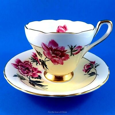 Pretty H M Sutherland Peach & Pink Floral Tea Cup and Saucer Set