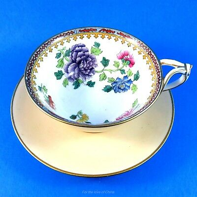 Unusual Split Handle Floral & Peach Copelands Spode Tea Cup and Saucer Set