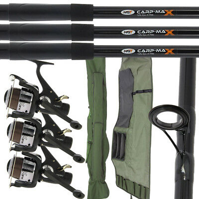 2/3 NGT Fishing 12ft 2pc Carp Max Rods & 2/3 MAX60 2BB Reels + 3+3 Rod Holdall