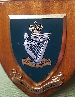 Vintage Royal Irish Rangers Plaque Shield hand painted