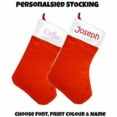 Personalised Felt Christmas Stocking, Chose name & Text