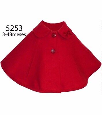 Traditional Spanish Girls Baby Romany Style Bow Collar Red Cape by Alber AW'17