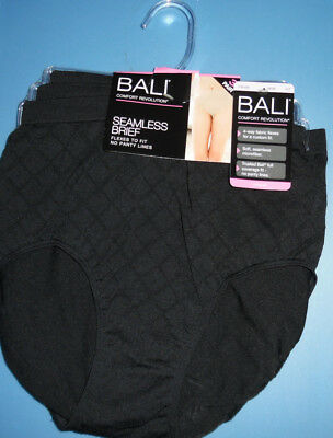 ce98441204 3 Bali Brief Panty Set Nylon Microfiber Diamond Textured Seamless Black 6 7  NWT
