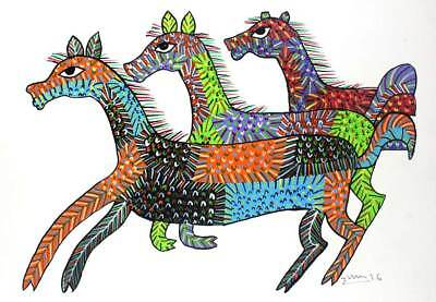 Wall Hanging Gond Painting (Galloping Horses) Size :- 14/11 Inch